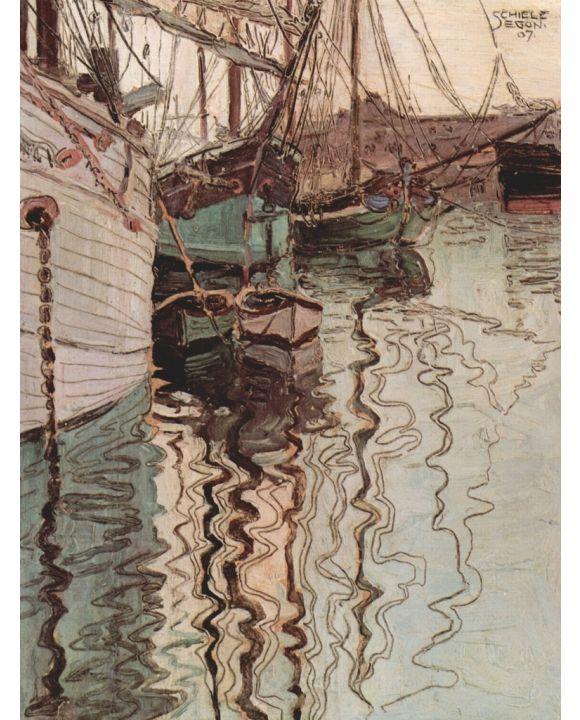 Lais Puzzle - Egon Schiele - Segelschiffe im wellenbewegtem Wasser (Der Hafen von Triest) - 1.000 Teile