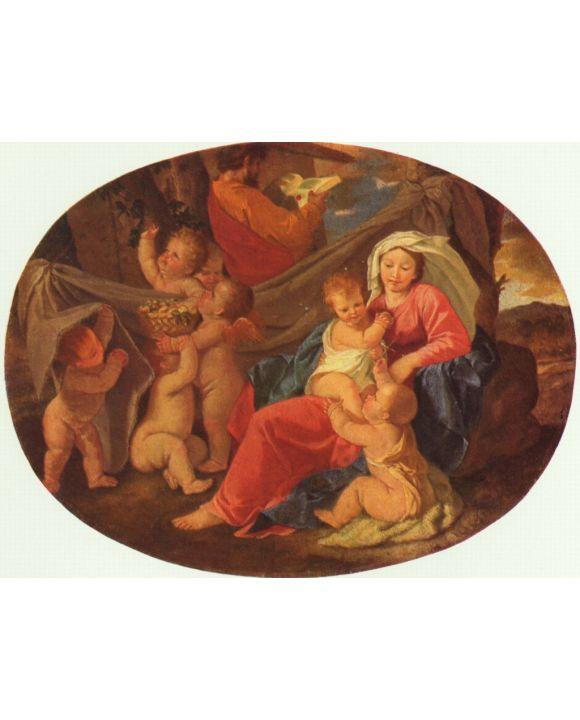 Lais Puzzle - Nicolas Poussin - Heilige Familie mit Engeln, Oval - 1.000 Teile