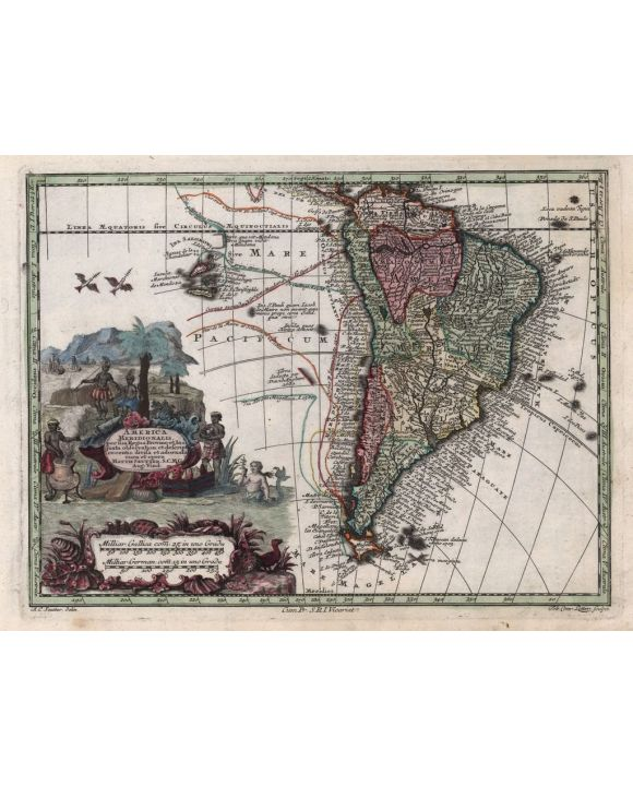 Lais Puzzle - Matthäus Seutter Landkarte - Atlas Novas Indicibus Instructus (1744) - America Meridionalis - Motivserie - 1.000 Teile