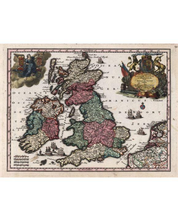 Lais Puzzle - Matthäus Seutter Landkarte - Atlas Novas Indicibus Instructus (1744) - Accuratissima Angliae Scotiae et Hiberniae (Großbritannien und Irland) - Motivserie - 1.000 Teile