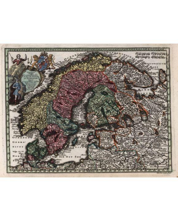 Lais Puzzle - Matthäus Seutter Landkarte - Atlas Novas Indicibus Instructus (1744) - Synopsis Plagae, Septentrionalis sive Sueciae Daniae, et Norwegiae Regn (Skandinavien) - Motivserie - 100, 200, 500, 1.000 & 2.000 Teile