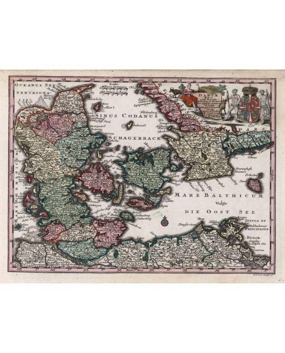 Lais Puzzle - Matthäus Seutter Landkarte - Atlas Novas Indicibus Instructus (1744) - Daniae (Dänemark) - Motivserie - 1.000 Teile