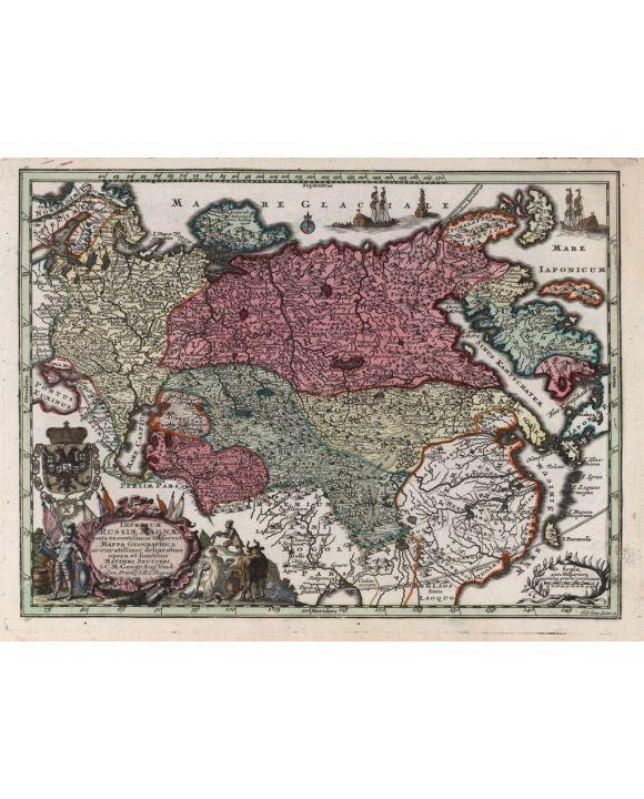 Lais Puzzle - Matthäus Seutter Landkarte - Atlas Novas Indicibus Instructus (1744) - Imperium Russiae Magnae (Russland) - Motivserie - 1.000 Teile