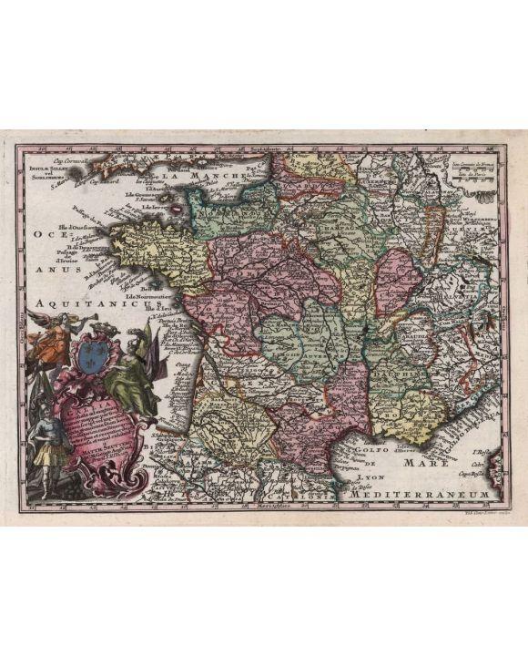 Lais Puzzle - Matthäus Seutter Landkarte - Atlas Novas Indicibus Instructus (1744) - Gallia (Frankreich) - Motivserie - 1.000 Teile