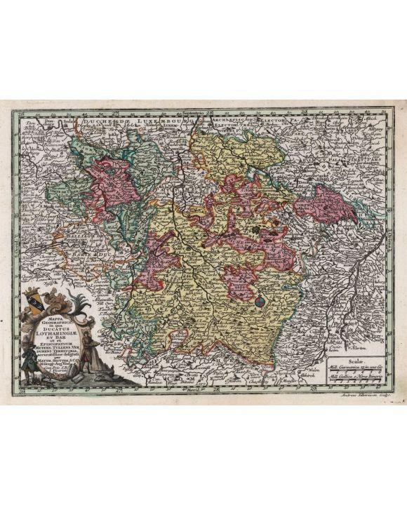 Lais Puzzle - Matthäus Seutter Landkarte - Atlas Novas Indicibus Instructus (1744) - Mappa Geographica, in qua Ducatus Lotharingiae Et Bar ut et Episcopatuum Metens (Lothringen) - Motivserie - 500 Teile