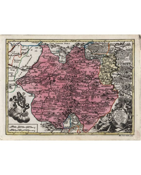 Lais Puzzle - Matthäus Seutter Landkarte - Atlas Novas Indicibus Instructus (1744) - Episcopatus Paderbornensis (Paderborn) - Motivserie - 1.000 Teile