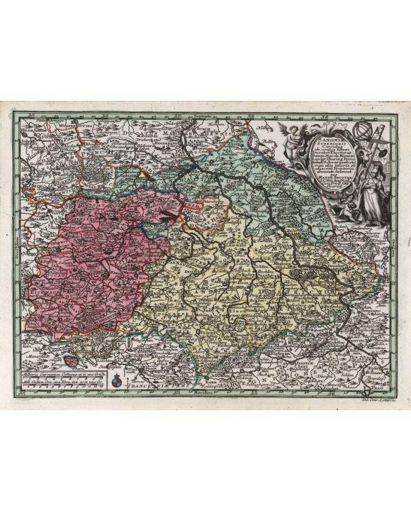 Lais Puzzle - Matthäus Seutter Landkarte - Atlas Novas Indicibus Instructus (1744) - Saxoniae Superioris Circulus (Sachsen) - Motivserie - 2.000 Teile