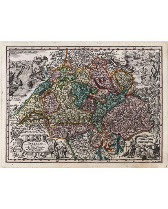 Lais Puzzle - Matthäus Seutter Landkarte - Atlas Novas Indicibus Instructus (1744) - Helvetiae (Schweiz) - Motivserie - 1.000 Teile