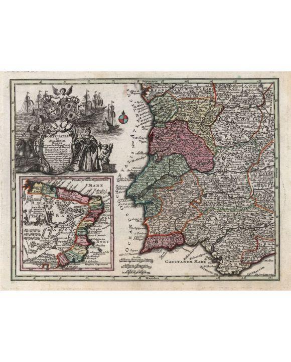 Lais Puzzle - Matthäus Seutter Landkarte - Atlas Novas Indicibus Instructus (1744) - Portugalliae (Portugal) - Motivserie - 100, 200, 500, 1.000 & 2.000 Teile