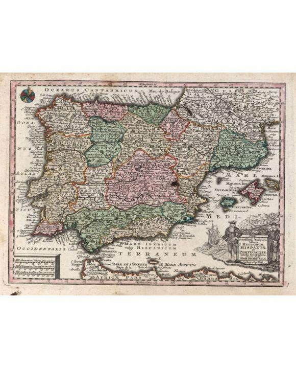 Lais Puzzle - Matthäus Seutter Landkarte - Atlas Novas Indicibus Instructus (1744) - Hispaniae et Portugalliae (Spanien und Portugal) - Motivserie - 500 Teile