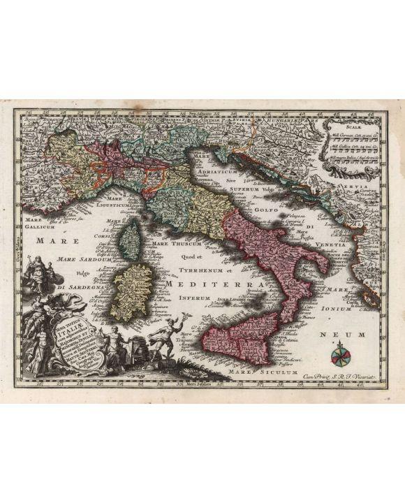 Lais Puzzle - Matthäus Seutter Landkarte - Atlas Novas Indicibus Instructus (1744) - Italiae (Italien) - Motivserie - 1.000 Teile