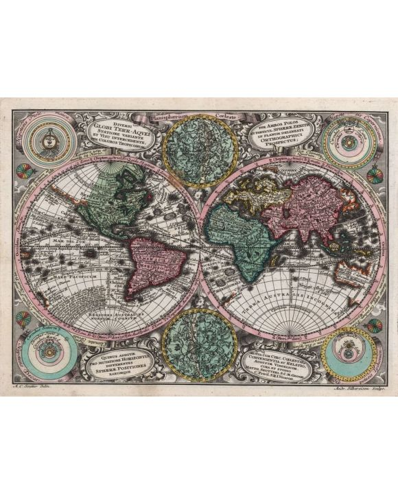 Lais Puzzle - Matthäus Seutter Landkarte - Atlas Novas Indicibus Instructus (1744) - Planisphaerium coeleste - Motivserie - 1.000 Teile