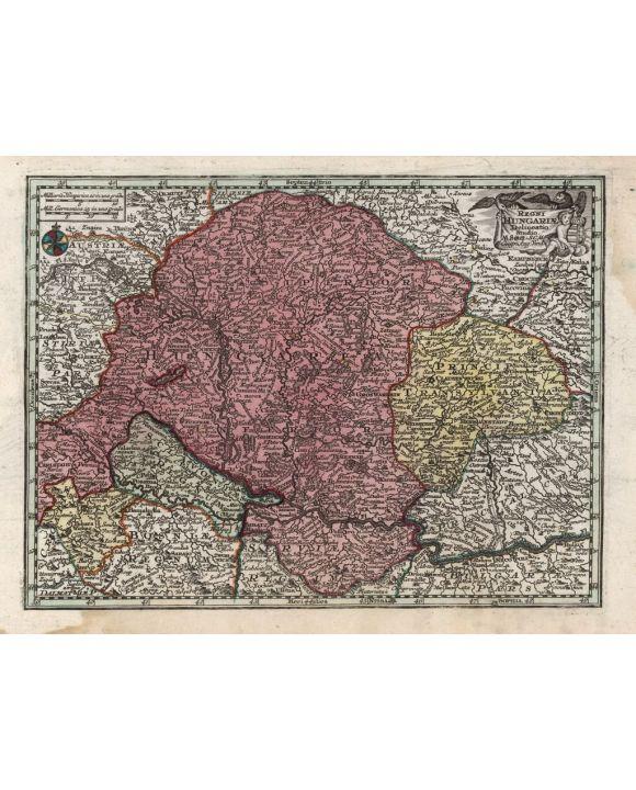 Lais Puzzle - Matthäus Seutter Landkarte - Atlas Novas Indicibus Instructus (1744) - Regni Hungariae (Königreich Ungarn) - Motivserie - 500 Teile