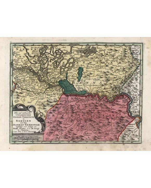 Lais Puzzle - Matthäus Seutter Landkarte - Atlas Novas Indicibus Instructus (1744) - Ungarisches Kriegs-Theatrum in Servien und dem Bannat Temeswar - Motivserie - 1.000 Teile