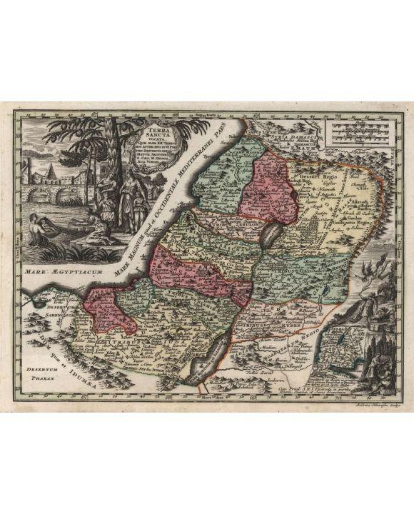 Lais Puzzle - Matthäus Seutter Landkarte - Atlas Novas Indicibus Instructus (1744) - Terra Sancta (Heiliges Land) - Motivserie - 1.000 Teile