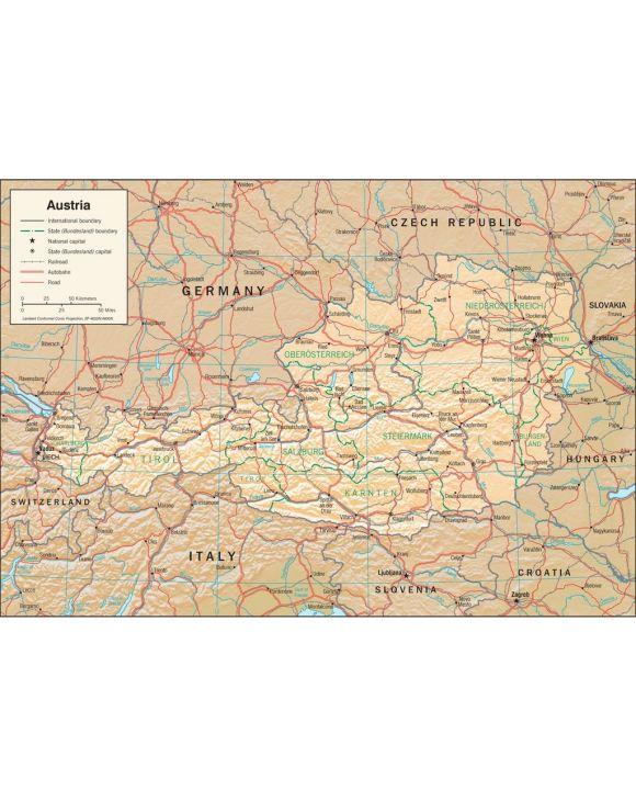 Lais Puzzle - Physische Landkarte Österreich - 1.000 Teile