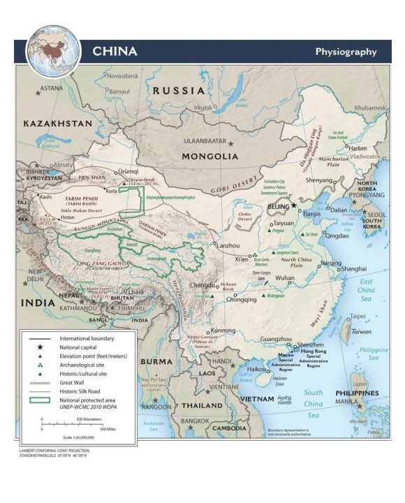 Lais Puzzle - Physische Landkarte China - 100, 500 & 2.000 Teile