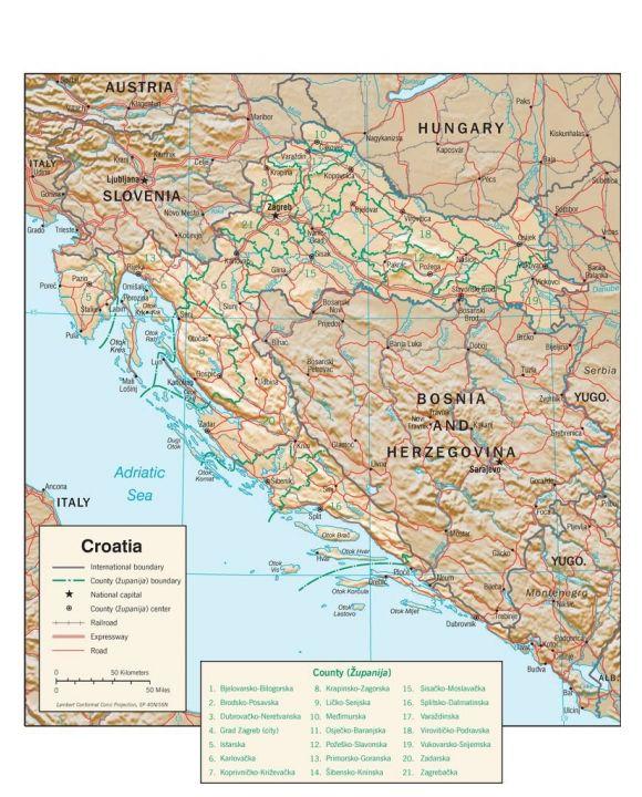 Lais Puzzle - Physische Landkarte Kroatien - 100, 200, 500, 1.000 & 2.000 Teile