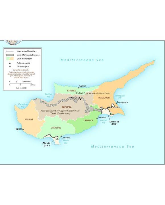 Lais Puzzle - Landkarte Zypern Verwaltung - 1.000 Teile