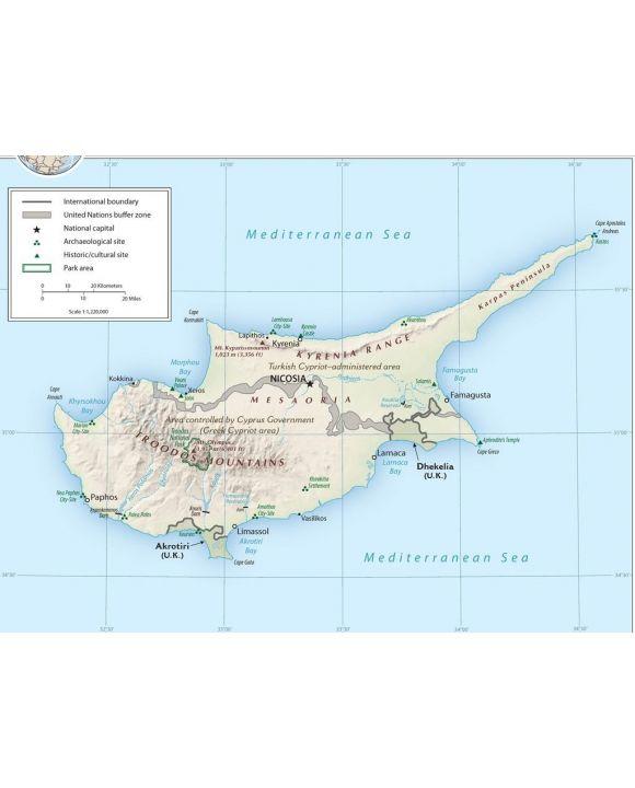 Lais Puzzle - Physische Landkarte Zypern - 100, 200, 500, 1.000 & 2.000 Teile
