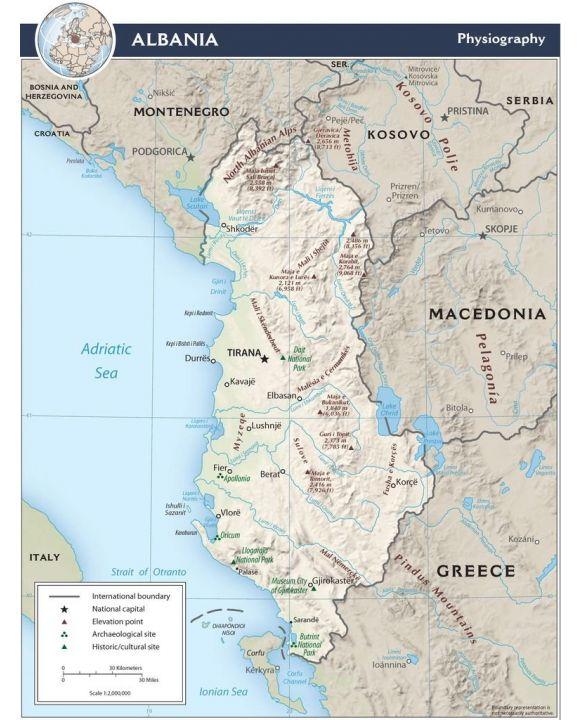 Lais Puzzle - Physische Landkarte Albanien - 200, 500 & 1.000 Teile