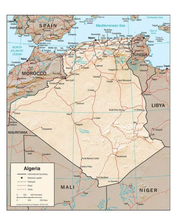 Lais Puzzle - Physische Landkarte Algerien - 100, 200, 500, 1.000 & 2.000 Teile