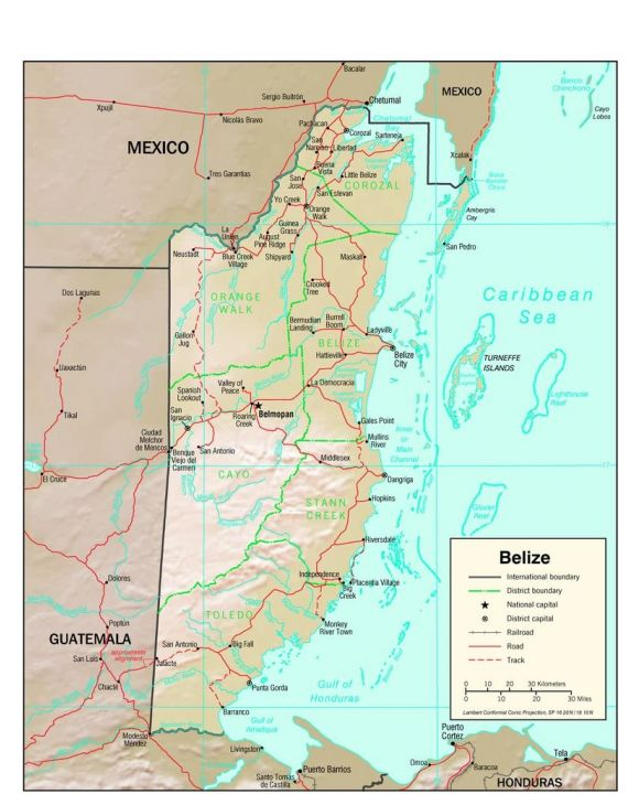 Lais Puzzle - Physische Landkarte Belize - 500 Teile