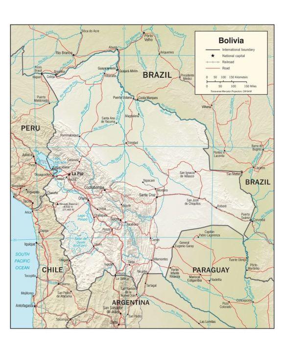 Lais Puzzle - Physische Landkarte Bolivien - 100, 200, 500, 1.000 & 2.000 Teile