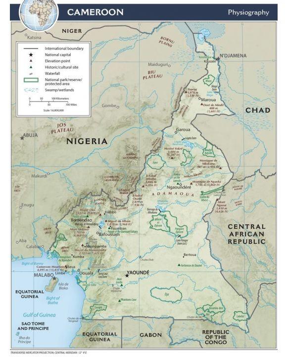 Lais Puzzle - Physische Landkarte Kamerun - 100, 200, 500, 1.000 & 2.000 Teile