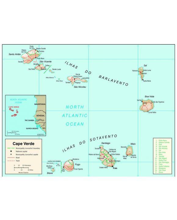 Lais Puzzle - Physische Landkarte Kap Verden - 100, 200, 500, 1.000 & 2.000 Teile