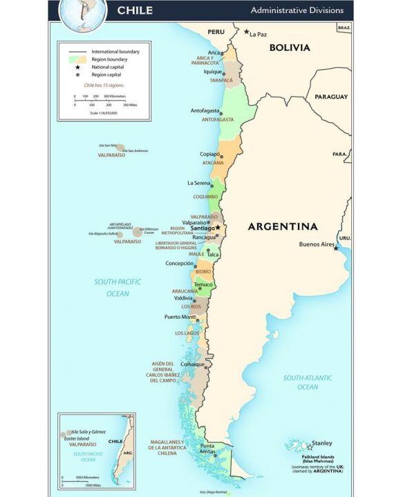 Lais Puzzle - Landkarte Chile Verwaltung - 100, 200, 500, 1.000 & 2.000 Teile