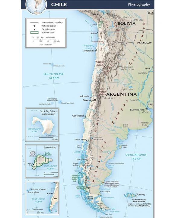 Lais Puzzle - Physische Landkarte Chile - 100, 200, 500, 1.000 & 2.000 Teile
