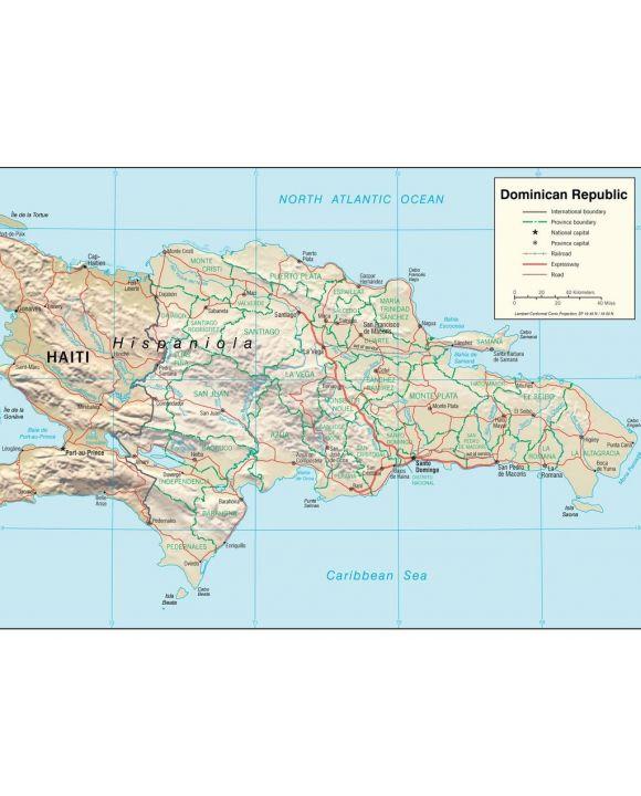 Lais Puzzle - Physische Landkarte Dominikanische Republik - 100, 200, 500, 1.000 & 2.000 Teile