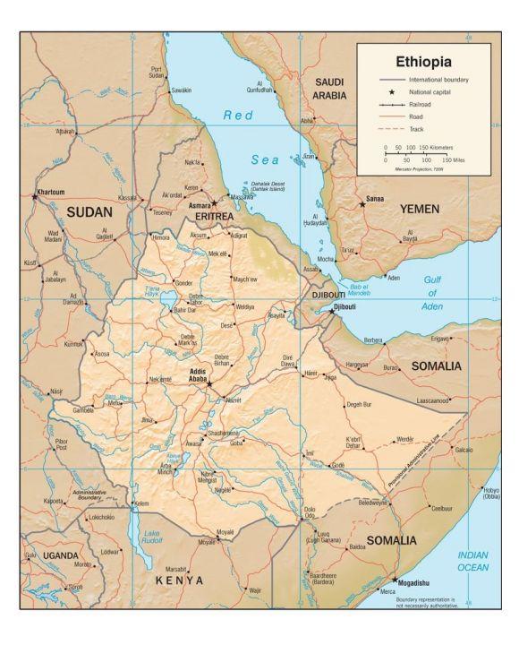 Lais Puzzle - Physische Landkarte Äthiopien - 500 Teile