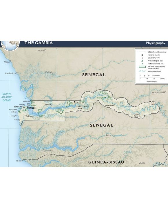 Lais Puzzle - Physische Landkarte Gambia - 100, 200, 500, 1.000 & 2.000 Teile
