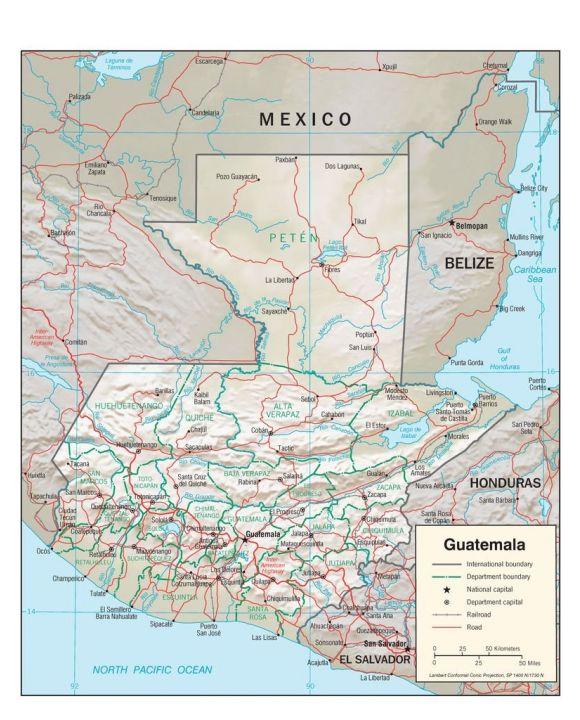 Lais Puzzle - Physische Landkarte Guatemala - 100 Teile