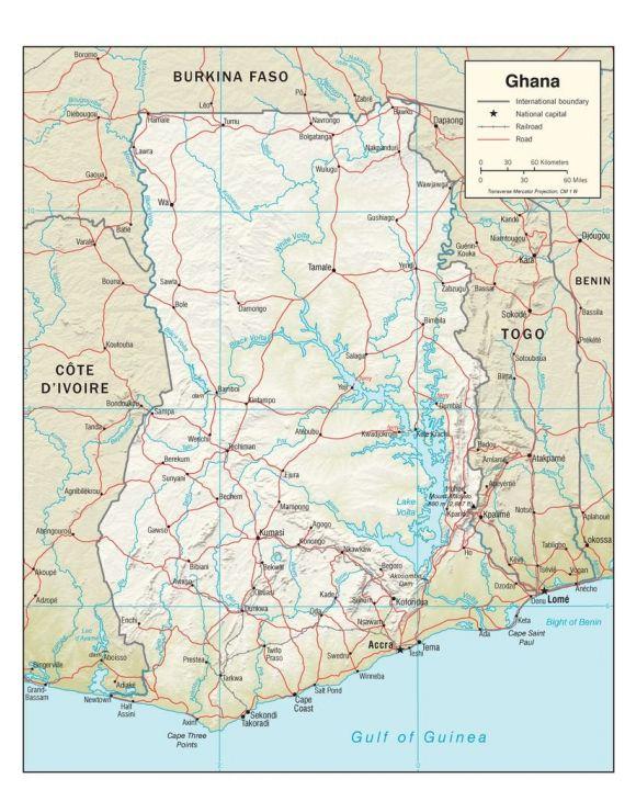 Lais Puzzle - Physische Landkarte Ghana - 100, 200, 500, 1.000 & 2.000 Teile