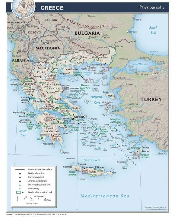 Lais Puzzle - Physische Landkarte Griechenland - 100, 200, 500, 1.000 & 2.000 Teile