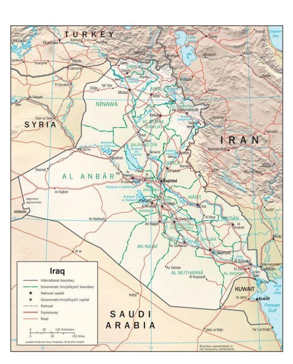 Lais Puzzle - Physische Landkarte Irak - 100, 200, 500, 1.000 & 2.000 Teile