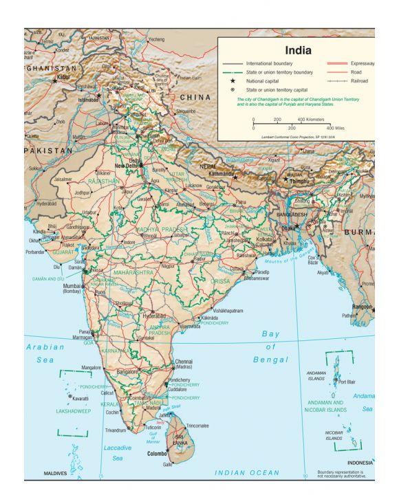 Lais Puzzle - Physische Landkarte Indien - 1.000 Teile