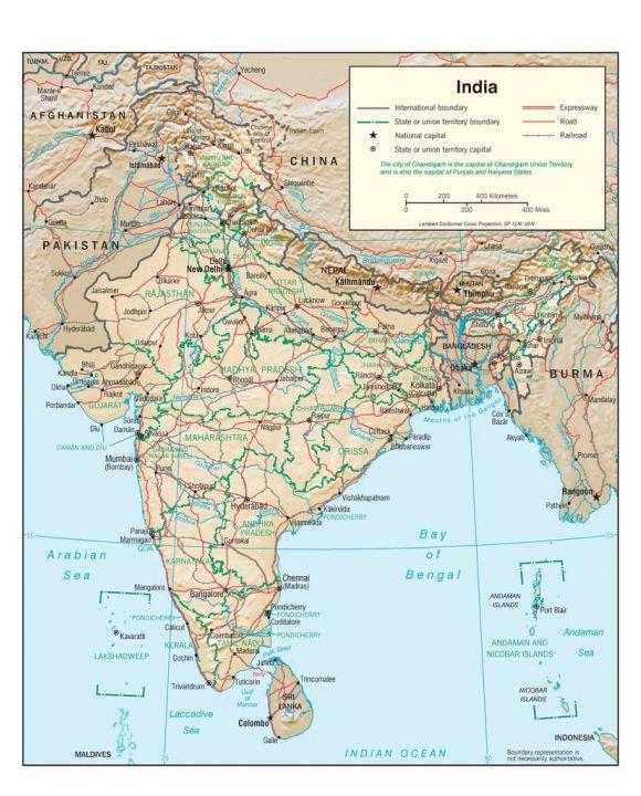 Lais Puzzle - Physische Landkarte Indien - 100, 200, 500, 1.000 & 2.000 Teile
