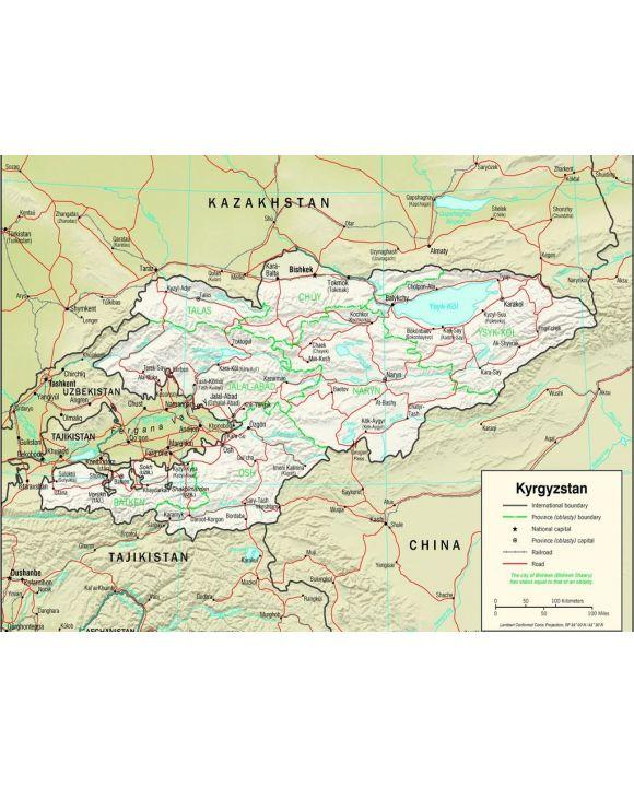 Lais Puzzle - Physische Landkarte Kirgistan - 500 & 1.000 Teile