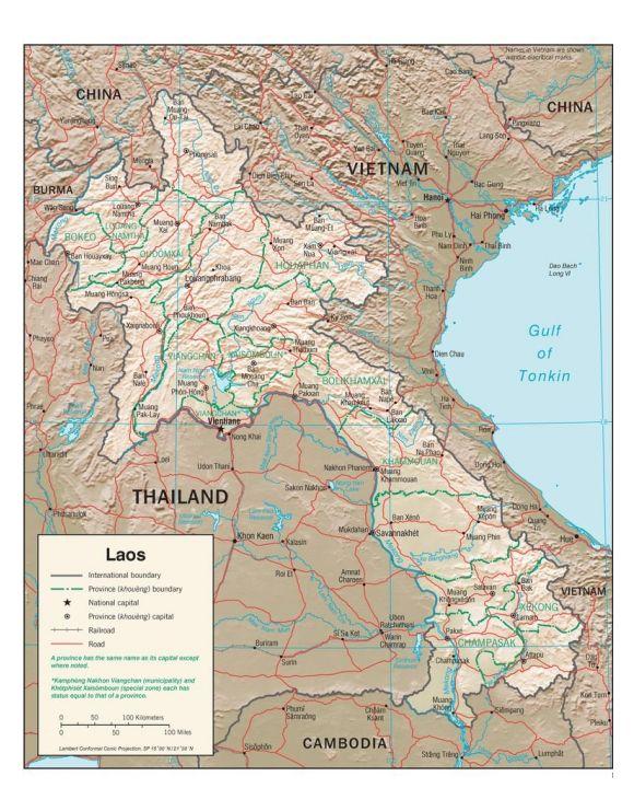 Lais Puzzle - Physische Landkarte Laos - 1.000 Teile