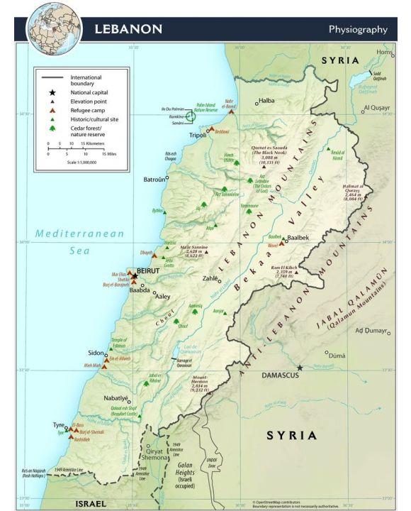 Lais Puzzle - Physische Landkarte Libanon - 100, 200, 500, 1.000 & 2.000 Teile