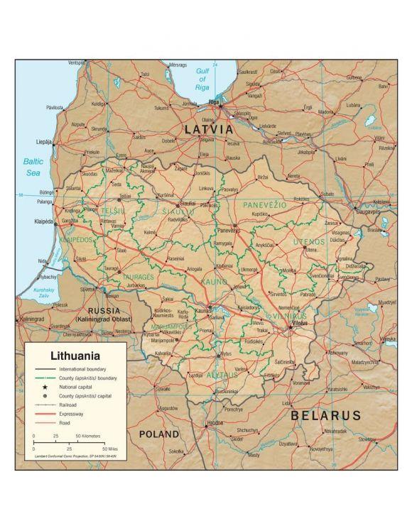 Lais Puzzle - Physische Landkarte Litauen - 100, 200, 500, 1.000 & 2.000 Teile