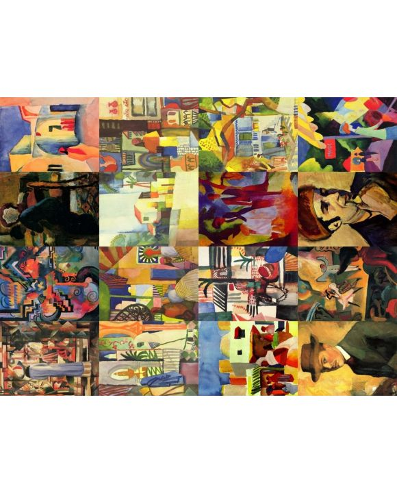 Lais Puzzle - Collage 16 Bilder August Macke II - 100, 200, 500, 1.000 & 2.000 Teile