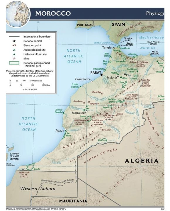 Lais Puzzle - Physische Landkarte Marokko - 100 Teile