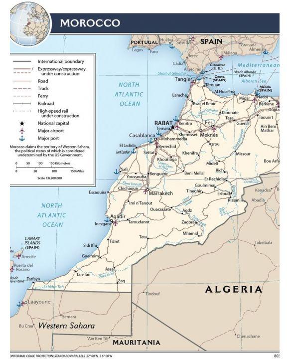 Lais Puzzle - Transportkarte Marokko - 100, 200, 500, 1.000 & 2.000 Teile