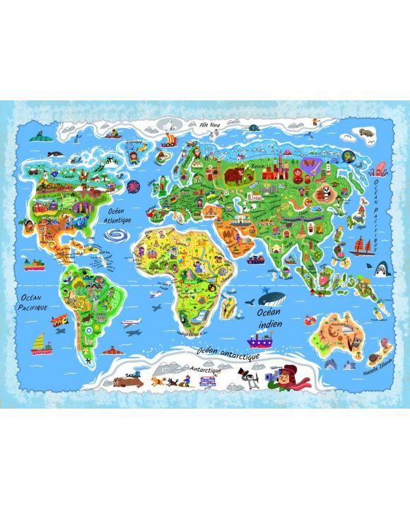 Lais Puzzle - Weltkarte in französisch - 100, 200, 500, 1.000 & 2.000 Teile