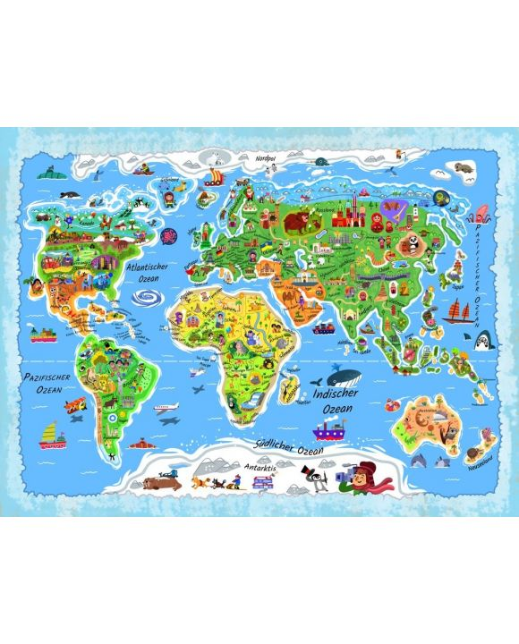 Lais Puzzle - Weltkarte in deutsch - 500 & 1.000 Teile